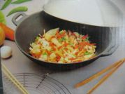 Wok Set, Gusseisen, flacher Boden, 24cm (Single Wok)
